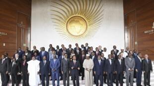 Les chefs d'Etat présents à la séance d'ouverture de la 11e session extraordinaire de l'assemblée de l'Union africaine, à Addis-Abeba, le 17 novembre 2018.