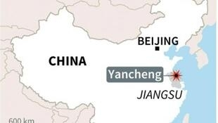 圖為中國江蘇鹽城地區化工廠爆炸所在地圖