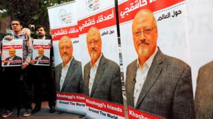 Biểu tình tố cáo vụ giết hại nhà báo Jamal Khashoggi, trước lãnh sự Ả Rập Xê Út tại Istanbul, Thổ Nhĩ Kỳ, ngày 25/10/2018