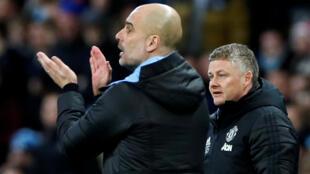 Pep Guardiola (Manchester City) et Ole Gunnar Solskjaer (Manchester United), le 29 janvier 2020.