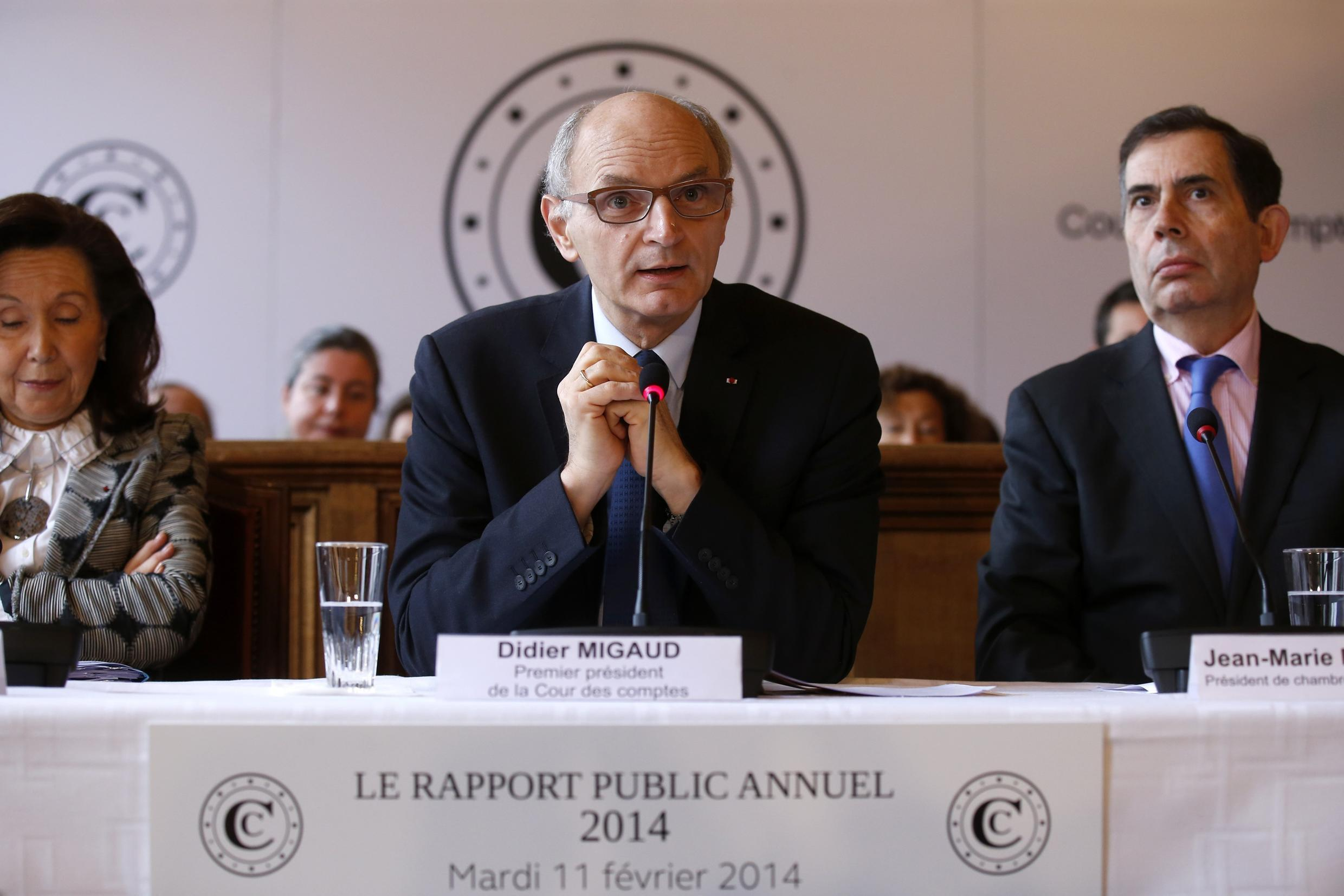 Didier Migaud, President of the French Court of Accounts, presents the annual report of the Court of Auditors in Paris, 11 February 2014.