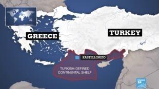 Ancara quer transformar o leste do Mediterrâneo num barril de pólvora. Mapa da  ZEE turca segundo Ancara, com a ilha de Kastelorizo