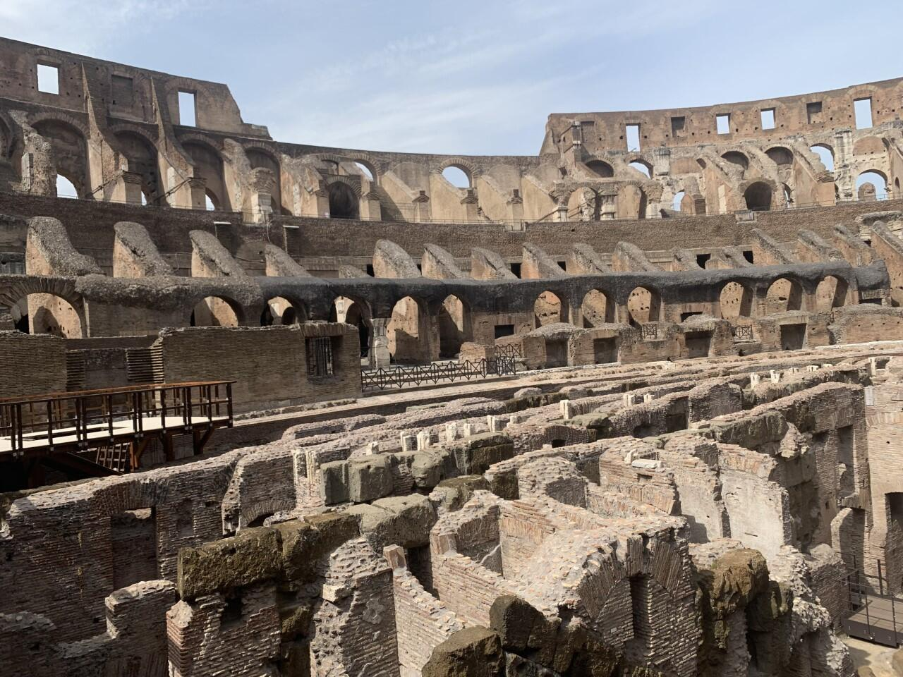A view of the newly-restored underground section of the Colosseum monument in Rome. It took a team two years to complete the works on the 15,000 square-metre area of arched passageways and chambers used for wild animals and performers. It opened to the public in June 2021.
