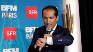 Le patron du groupe Altice, Patrick Drahi, lors du lancement de la nouvelle chaîne BFM Paris, le 7 novembre 2017.