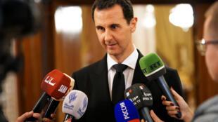 Bachar el-Assad, lors d'une conférence de presse à Damas, en Syrie, en décembre 2017.