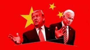 美国总统特朗普与民主党总统候选人拜登示意图