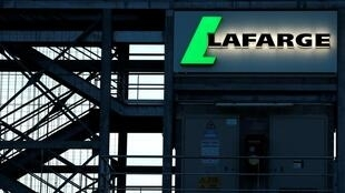 The logo of the French concrete maker Lafarge is seen on a plant in Paris, France, on May 22, 2017.