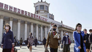 4月27日,疫情下的朝鲜平壤街头资料图片