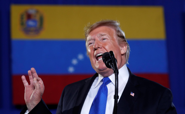 Le président américian Donald Trump s'est exprimé devant la communauté vénézuélienne de Floride, à Miami, le 18 février 2019.