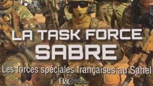 La couverture de l'ouvrage «La Task force sabre... Les forces spéciales françaises au Sahel» du journaliste Jean-Marc Tanguy.
