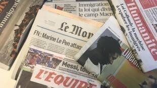 Primeiras páginas dos diários franceses 21/3/2018