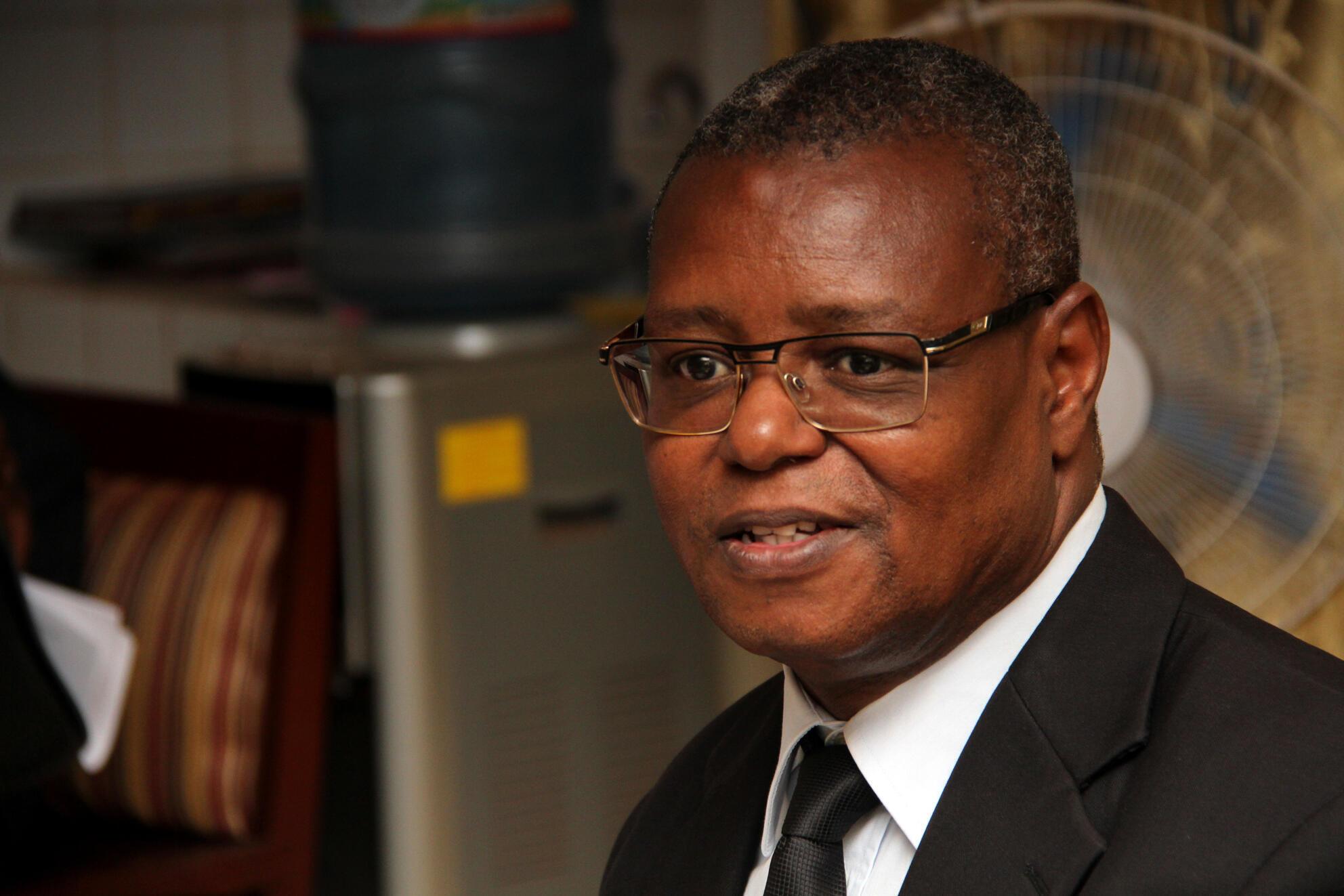 Pierre Somsé, le ministre centrafricain de la Santé, lors d'une conférence de presse sur le Covid 19, à Bangui, le 15 mars 2019.