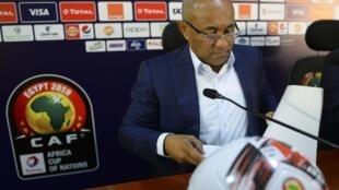 Le président de la Confédération Africaine de football Ahmad Ahmad, lors d'une conférence de presse avant le début de la CAN, le 20 juin 2019 au Caire.