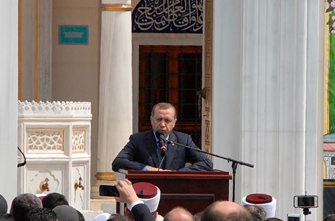Президент Турции Эрдоган выступает в мечети штата Мэриленд, США, 2 апреля 2016.