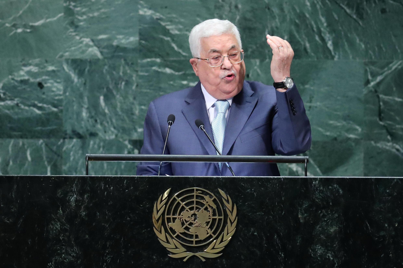 Shugaban Falasdinawa Mahmoud Abbas yayin gabatar da jawabi a zauren majalisar dinkin duniya da ke karbar bakuncin taron shugabannin kasashen duniya karo 73. 27 ga watan Agusta, 2018.