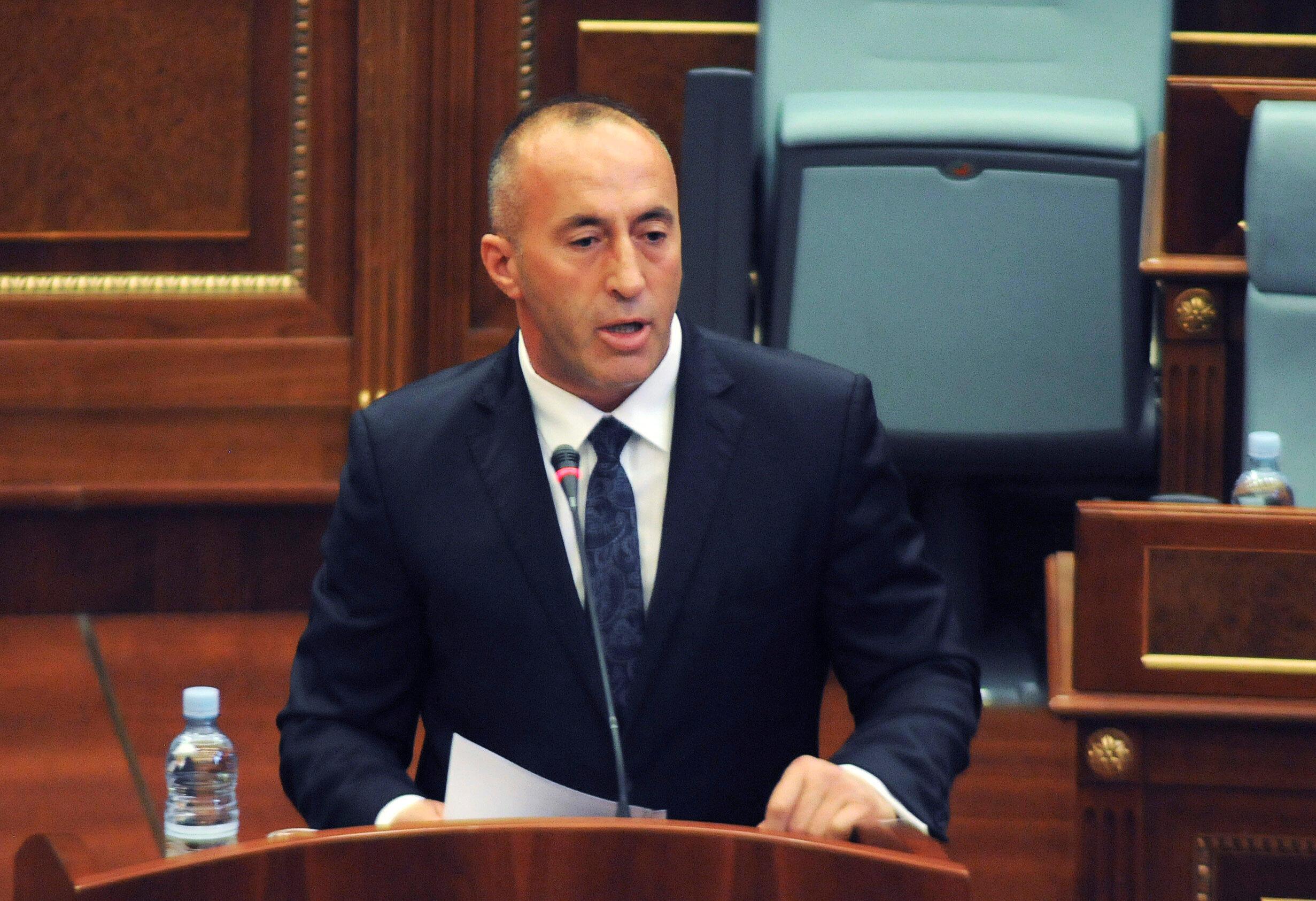 Allocution du nouveau chef du gouvernement du Kosovo, Ramush Haradinaj, au Parlement de Pristina, la capitale du Kosovo, le 9 septembre 2017.