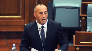 File photo of Kosovo Prime Minister Ramush Haradinaj in parliament in Pristina, Kosovo