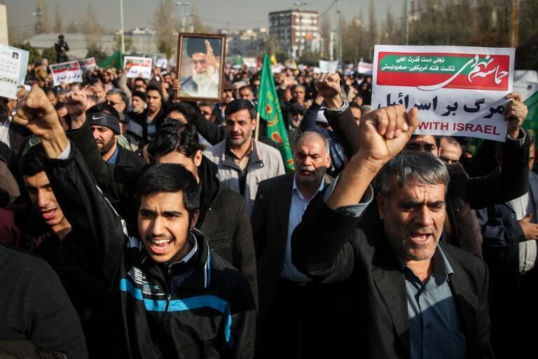 Iran : Cảnh biểu tình ủng hộ chính phủ tại Teheran, ngày 30/12/2017.