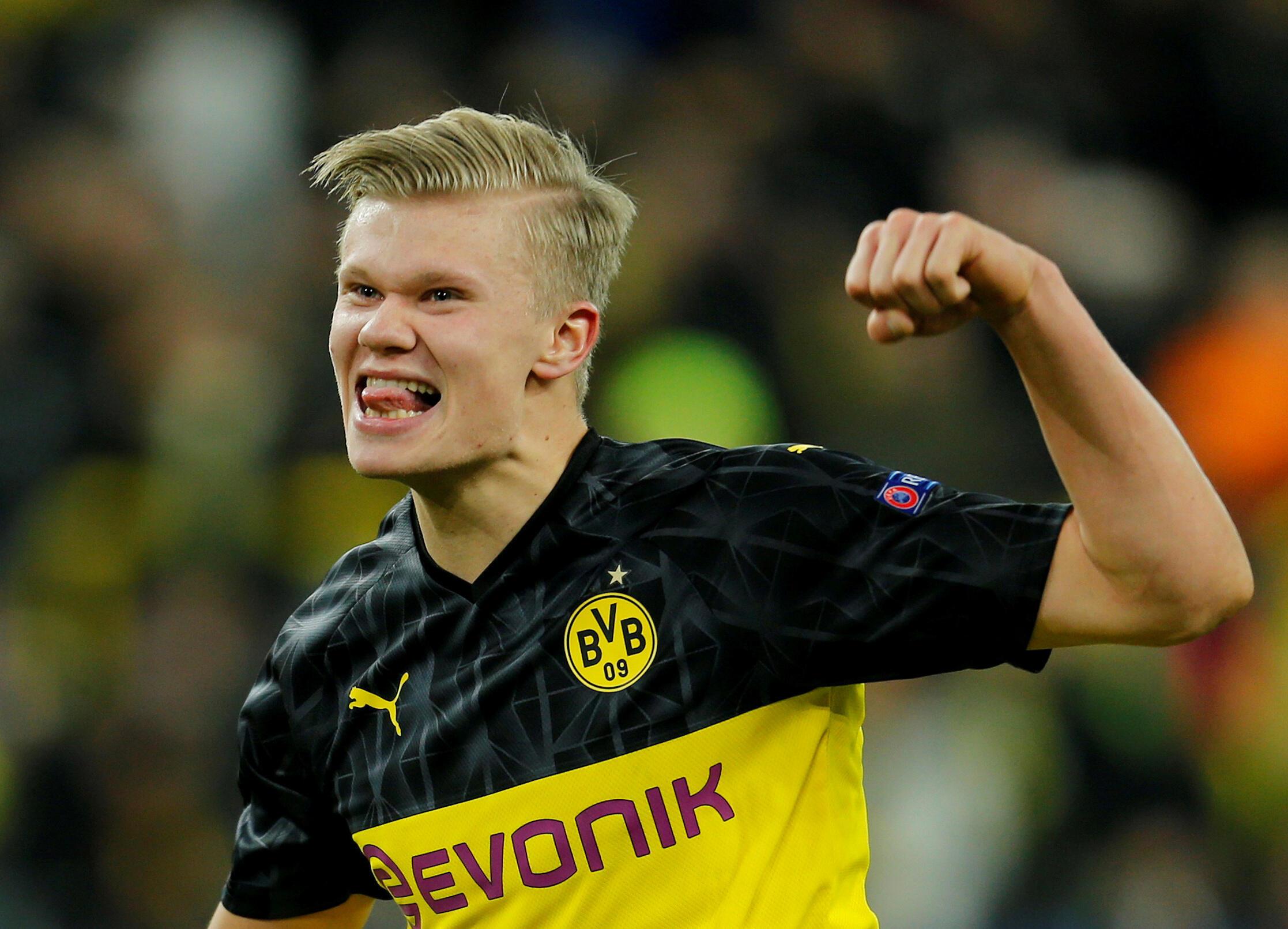 Erling Braut Haaland, avançado norueguês do Borussia Dortmund, apontou dois tentos frente ao Paris Saint-Germain.