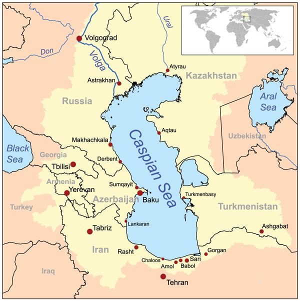 Situation de la mer Caspienne.