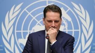 Pierre Krahenbuhl, commissaire général de l'UNRWA, lors d'une conférence de presse à Genève, le 29 janvier 2019