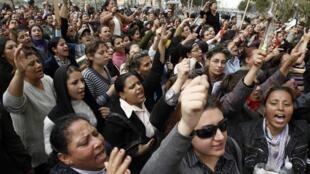 Manifestation de protestation des femmes chrétiennes contre les violences interreligieuses, le 8 mars 2011, au Caire.