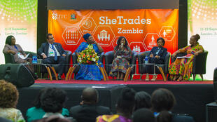 Maureen Sumbwe, ZFAWB, Penny Mapoma, Graça Machel Foundation, Kayula Siame, Ministry of Commerce, Trade & Industry and Dorothy Tembo, ITC (From L to R) during a panel at the SheTrades launch.