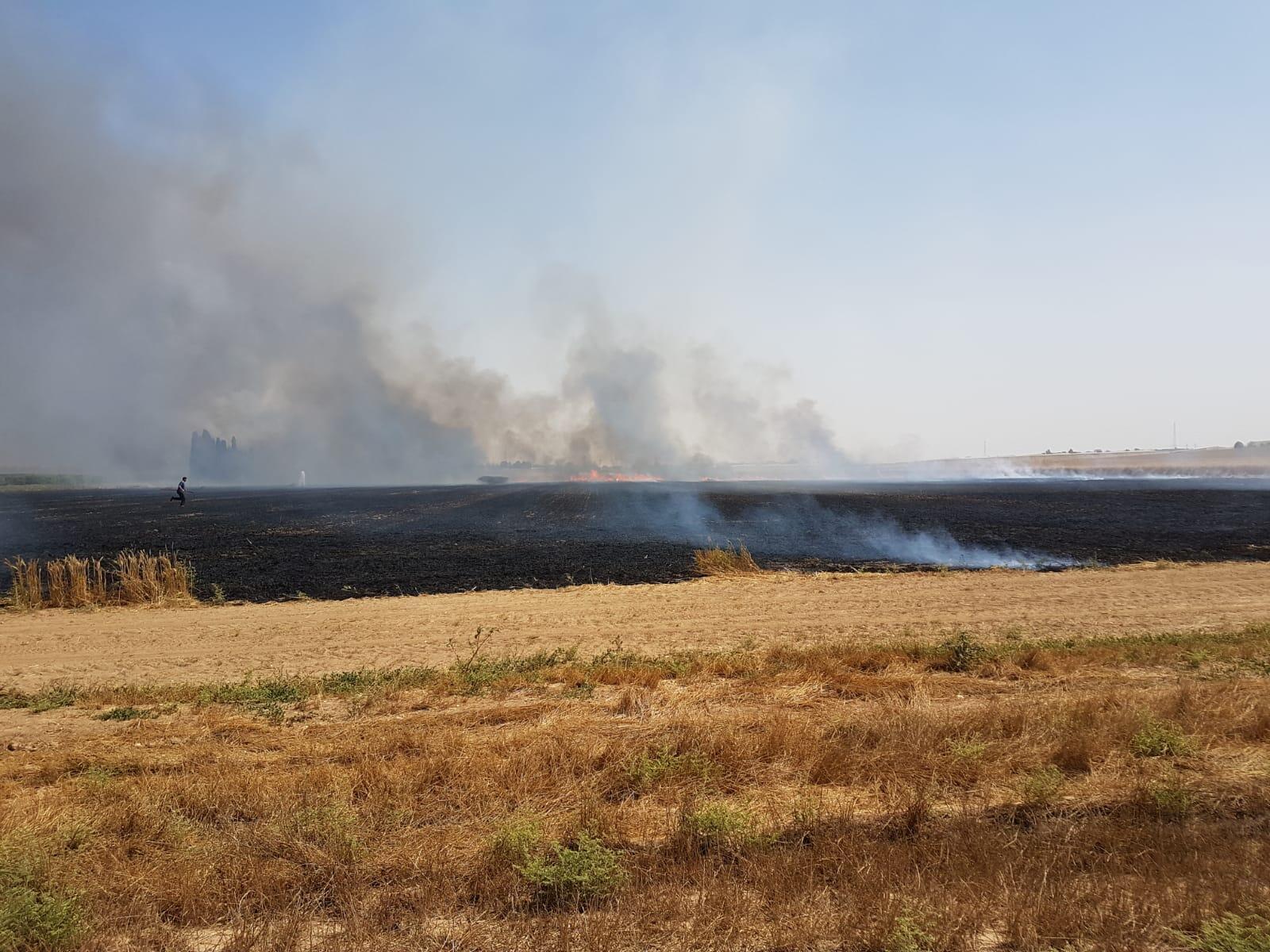 Os incêndios são causados por pipas e balões com artefatos incendiários e têm queimado campos agrícolas de cidades e de comunidades israelenses.