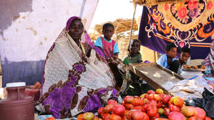 Cette femme soudanaise vend des tomates au marché pour subvenir aux besoins de ses enfants, camp de Djabal à Goz Beïda, décembre 2018.