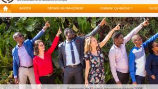 La page d'accueil du FADEV, le Fonds Afrique développement.