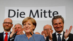 Shugabar gwamnatin Jamus Angela Merkel da mukarrabanta.