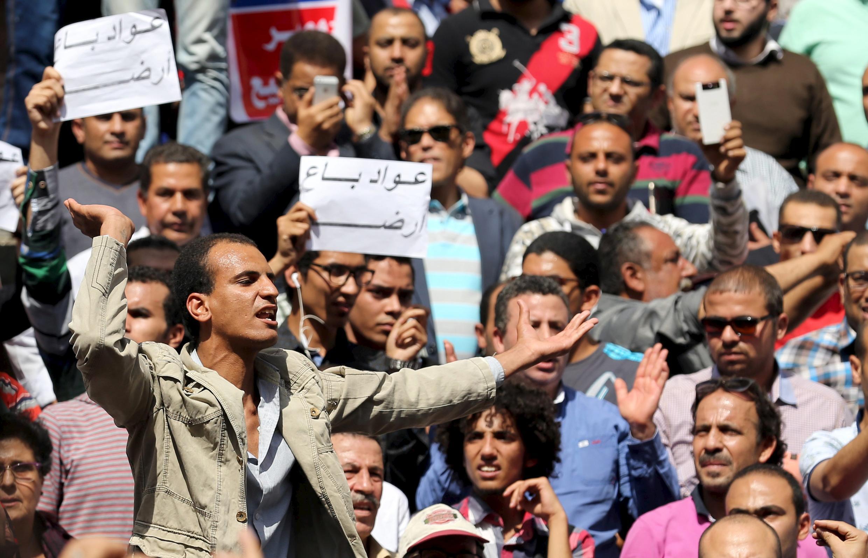 Người dân Ai Cập xuống đường biểu tình phản đối chính quyền của tổng thống Al-Sissi, ngày 15/04/2016.