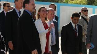A chefe da diplomacia europeia, Federica Mogherini, neste sábado (8), em Gaza.