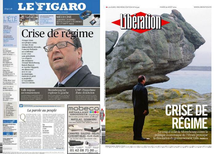 O jornal conservador Le Figaro e o jornal de esquerda Libération trazem a mesma manchete sobre a crise no governo francês.