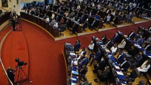 Visión general tomada durante la inauguración de la nueva Asamblea Legislativa, con mayoría de miembros del partido gobernante Nuevas Ideas (NI), en San Salvador, el 1 de mayo de 2021