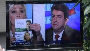 Marine Le Pen andJean-Luc Mélenchon debate on television