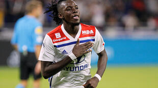 Le Burkinabè Bertrand Traoré, le 23 septembre 2018, sous les couleurs de l'Olympique lyonnais.