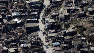 Jérémie, Grand'Anse, Haïti. Photographie prise le 8 octobre 2016, cinq jours après le passage de l'ouragan Matthew.