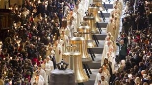 Ceremony to bless the new bronze bells of Notre-Dame de Paris Cathedral, 2 February, 2013