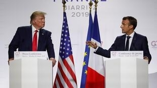 French and American Presidents (r)Emmanuel Macron an Donald Trump (l) during their joint press conference after the end of the G7 summit in Biarritz, Monday 26 August, 2019.