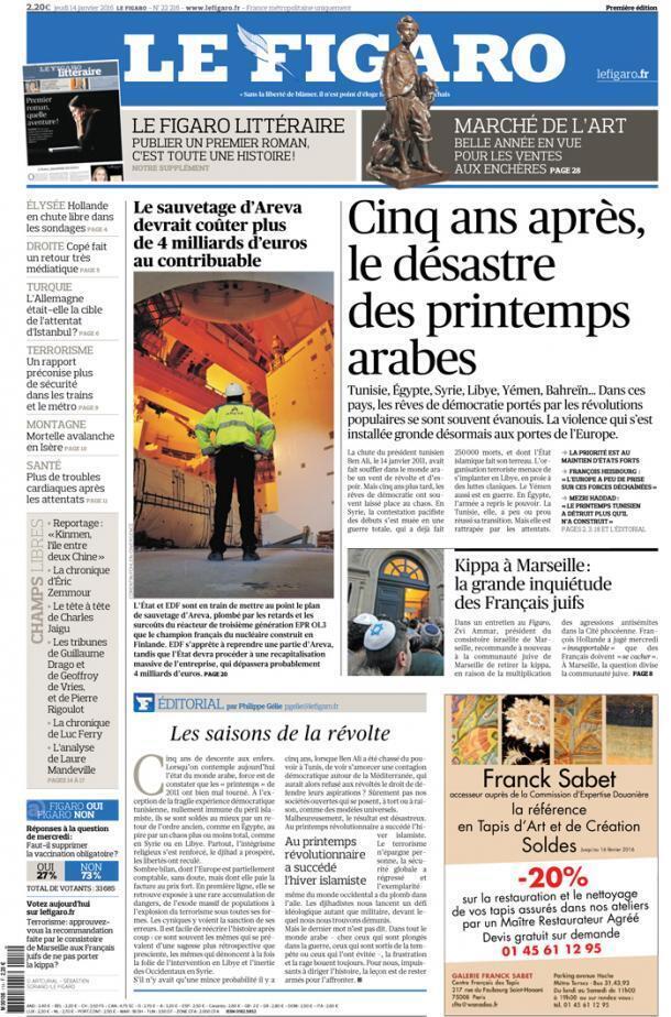 Capa do jornal francês Le Figaro desta quinta-feira, 14 de janeiro de 2016.