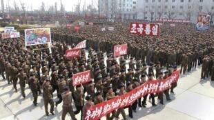 Norte-coreanos promoveram um encontro nesta quarta-feira para celebrar uma futura vitória do país sobre uma possível guerra contra os Estados Unidos e a Coreia do Sul.
