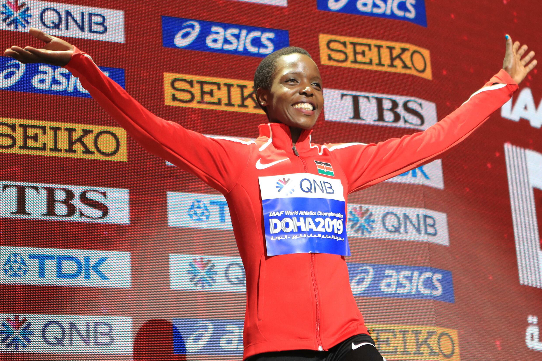 L'athlète Kényane Agnes Tirop à Doha, le 29 septembre 2019 au Qatar