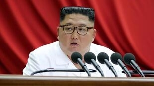 Lãnh đạo Bắc Triều Tiên Kim Jong Un phát biểu nhân phiên họp toàn thể lần thứ 7 ban Chấp hành Trung ương Đảng Lao Động Triều Tiên. Ảnh do KCNA phổ biến ngày 30/12/2019.