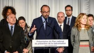 法国总理菲利普星期五在里尔市宣布预防圣战激进化新方案。