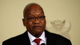 Le président de l'Afrique du Sud, Jacob Zuma, à son l'annonce de sa démission aux Union Buildings à Pretoria, en Afrique du Sud, le 14 février 2018.