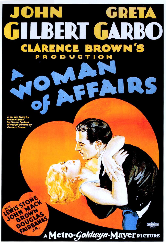 Afiche de la película de 1928 'A Woman of Affairs' de Clarence Brown con Greta Garbo y John Gilbert.