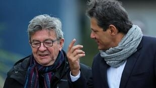 Leftist firebrand Jean-Luc Melenchon (L) speaks with Brazilian former Education Minister (2005-2012) Fernando Haddad, after visiting jailed former Brazilian President Luis Inacio Lula da Silva in jail, September 5, 2019