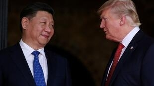 中国国家主席习近平与美国总统特朗普资料图片