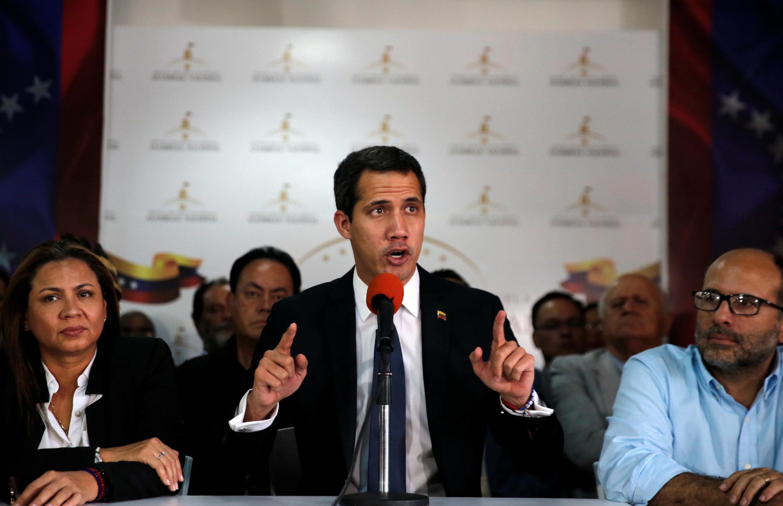 Lãnh đạo đối lập Venezuela Juan Guaidó họp báo ngày 14/05/2019 tại Caracas (Venezuela).